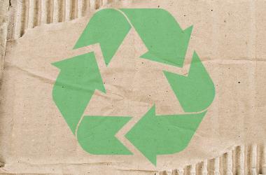 Bølgepap med indprintet genbrugslogo