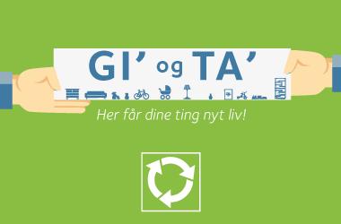 Grafisk tegning af to hænder der holder skilt med teksten Gi' og Ta'