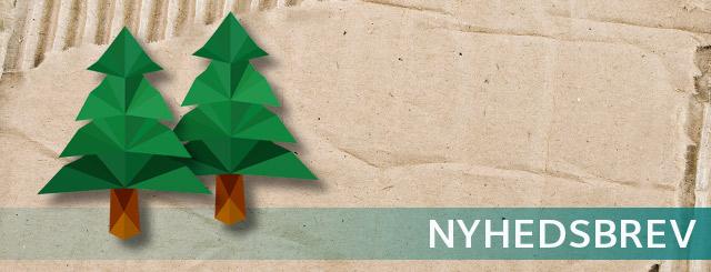 Grafisk tegning af to juletræer på et stykke bølgepap samt teksten